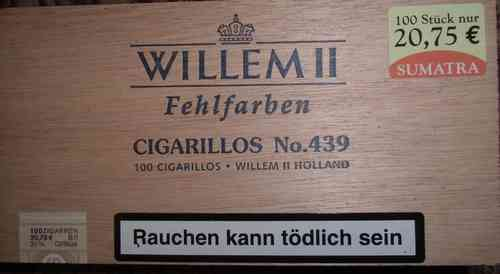 Cigarillos Fehlfarben Sumatra 100 St. Willem II No. 439 / Willem II Holland
